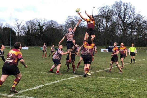 Birkenhead Park contest a line-out against Douglas