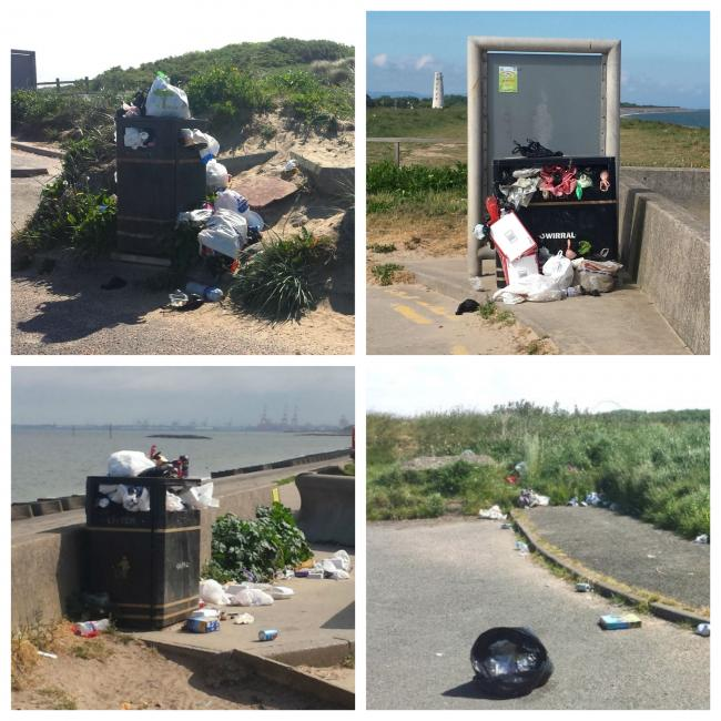 Reader's pictures show 'vastly overflowing bins' at the end of the car park and also at the top of the path to the Embankment.