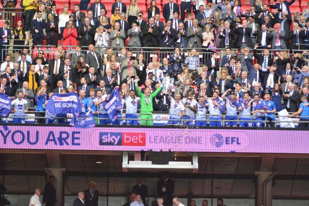 Wirral Globe: Tranmere won promotion to League One in the play-off final 12 months ago but have been relegated back to League Two on a vote. Photo: Tony Coombes