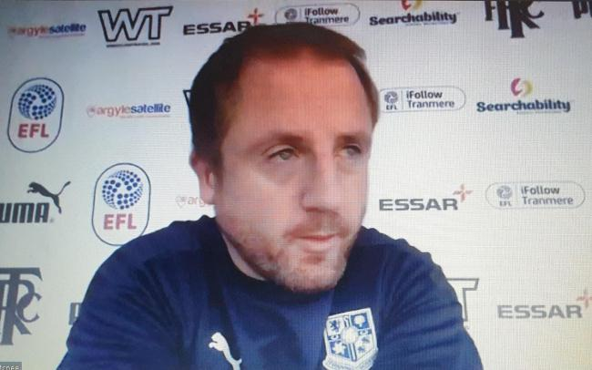 Ian Dawes, during Tranmere's pre-match video call press conference ahead of the weekend visit of Grimsby Town